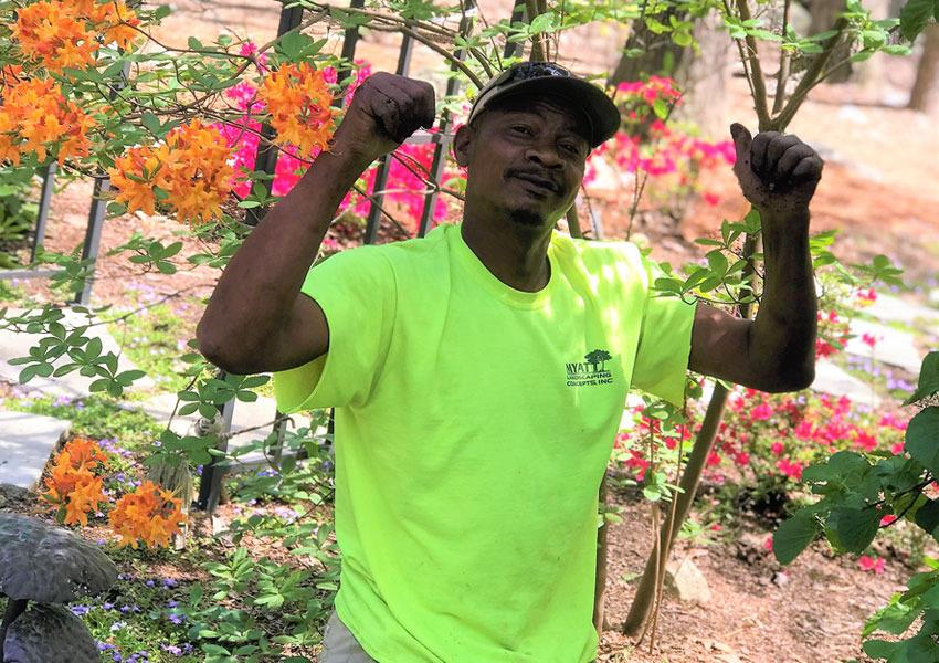 Myatt Employee Working in Garden